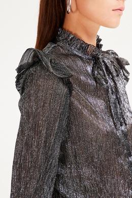 Блестящая серебристая блузка с оборками Maje 888153587