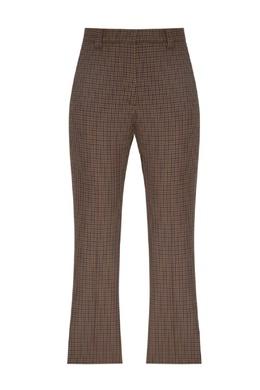 Коричневые брюки с отделкой в клетку Sandro 914153416