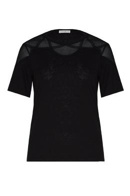 Черная льняная блузка с отделкой Sandro 914153409