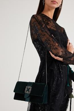 Темно-зеленый бархатный клатч с пряжкой Capri Manolo Blahnik 166153652