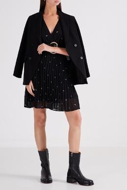 Черное платье с запахом и узорами Maje 888153504