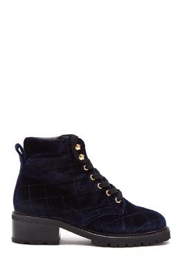 Бархатные синие ботинки Sandro 914153432