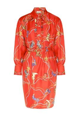 Красное шелковое платье-рубашка с узором Sandro 914153424
