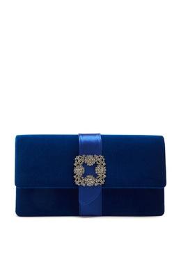 Синий бархатный клатч с пряжкой Capri Manolo Blahnik 166153571