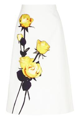 Белая юбка-миди с цветочным рисунком Prada 40154556