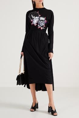 Черное платье-миди с принтом Prada 40154553