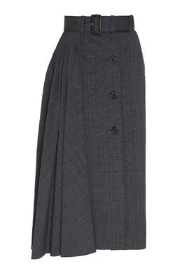 Серая юбка-миди со складками Prada 40154560