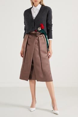 Атласная коричневая юбка-миди со складками Prada 40154557