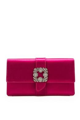 Розовый атласный клатч с пряжкой Capri Manolo Blahnik 166155345