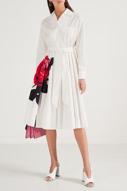 Молочное платье-рубашка с цветочным рисунком Prada 40154550