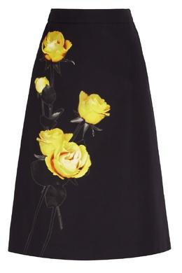 Черная юбка-миди с цветочным рисунком Prada 40154551