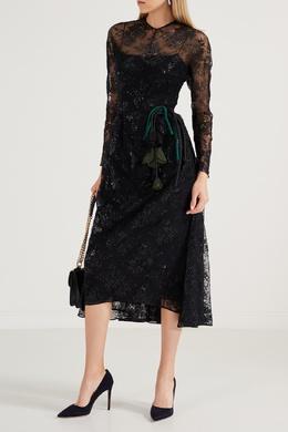Черное кружевное платье-миди Prada 40154548