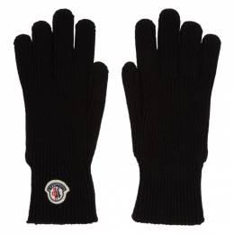 Moncler Black Wool Gloves 192111M13500203GB