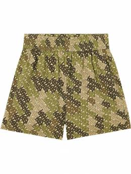 Burberry - Monogram Print Cotton Poplin Shorts 50889596935600000000