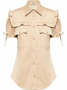Miu Miu - frilled short-sleeved fitted shirt 56663095565365000000