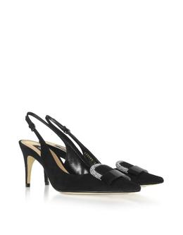Royal -Черные Туфли без Задника с Кристаллами Sergio Rossi A80290/MFN798/1498/1 10 BLACK 35