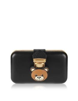 Teddy Pocket -Черный Кожаный Клатч с Цепочкой на Плечо Moschino 7462 8006 A1555 Black/Gold