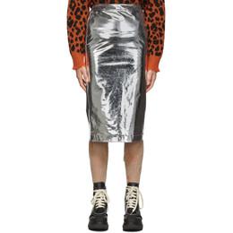 MCQ by Alexander McQueen Silver Metallic Kick Back Skirt 192114F09200102GB