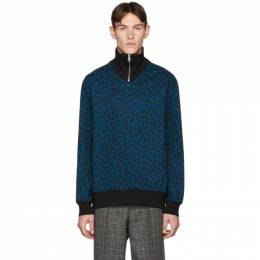 Paul Smith Blue Cheetah Zip Sweater 192260M20200805GB