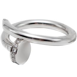 Cartier Juste Un Clou White Gold Diamond Ring Size 54 229849