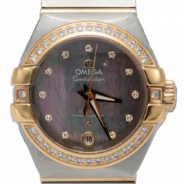 Omega Mother Of Pearl Steel & Rose Gold Diamond Constellation Automatic Women'S Watch 27MM