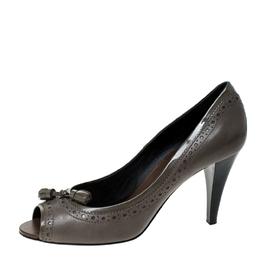 Tod's Grey Leather Tassel Peep Toe Pumps Size 39 Tod's
