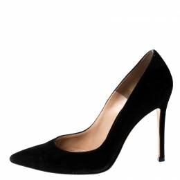 Gianvito Rossi Black Suede Pointed Toe Pumps Size 36 229062