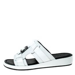 Dolce&Gabbana White Leather Buckle Platform Slide Sandals Size 43 229443