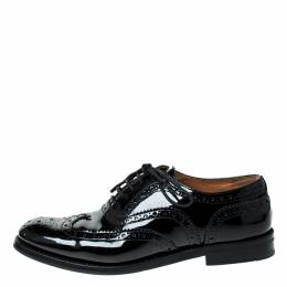 Church's Black Brouge Leather Lace Up Oxfords Size 37 Church's
