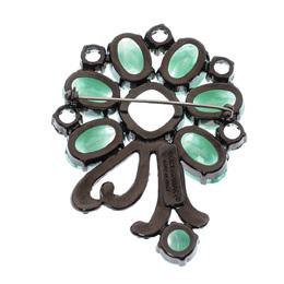 Dolce&Gabbana Green Floral Crystal Silver Tone Brooch