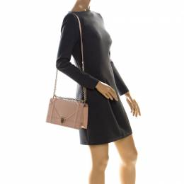 Dior Beige Leather Medium Diorama Flap Shoulder Bag 226939