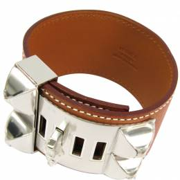 Hermes Collier De Chien Brown Barenia Leather Palladium Plated Wide Cuff Bracelet