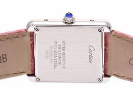 Cartier Pink Stainless Steel and Leather Tank Solo Women's Wristwatch 23x31MM 227910