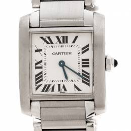 Cartier White Stainless Steel Tank Francaise 2301 Women's Wristwatch 25 mm 229141