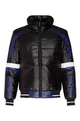 Черная куртка с цветными полосками Bikkembergs 1487154980