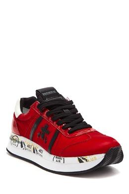 Красные кроссовки из текстиля и кожи Conny Premiata 827154968