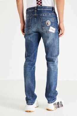 Синие джинсы зауженного кроя Bikkembergs 1487154921