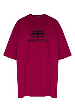 Футболка цвета фуксии с логотипом Balenciaga 397155021