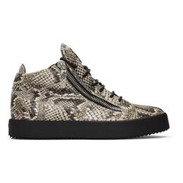 Giuseppe Zanotti Design Black and Off-White Python Kriss Sneakers 192266M23703113GB