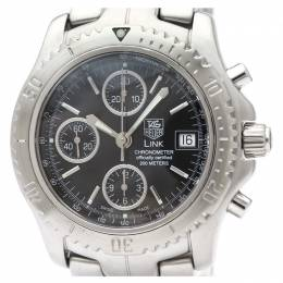 Tag Heuer Black Stainless Steel Link Chronograph Steel CT5111 Men's Wristwatch 42 MM 226457