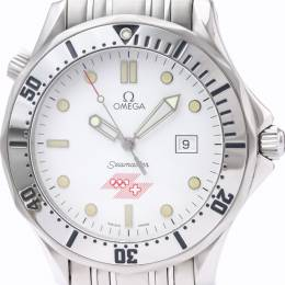 Omega White Stainless Steel Seamaster Professional 300M 1994 Olympic 2842.21.53 Men's Wristwatch 41 MM 226414