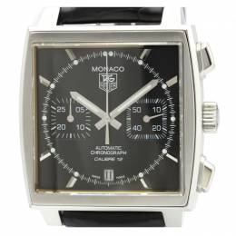 Tag Heuer Black Stainless Steel Monaco Chronograph CAW2110 Men's Wristwatch 39 MM 226464