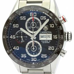Tag Heuer Black Stainless Steel Carrera Calibre 16 Chronograph CV2A1S Men's Wristwatch 43MM 226357