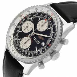 Breitling Black Stainless Steel and Leather Navitimer Fighter Chronograph A13330 Men's Wristwatch 41.5 MM 227090