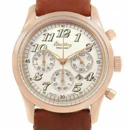 Breitling 18K Rose Gold Silver Stainless Steel and Leather Navitime H42035 Men's Wristwatch 37MM 227097