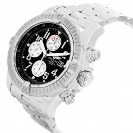 Breitling Black Stainless Steel Aeromarine Super Avenger A13370 Men's Wristwatch 48 MM 227205