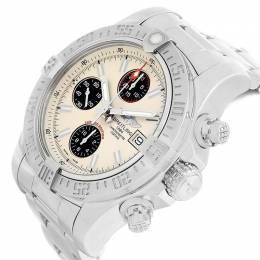 Breitling Off White Stainless Steel Aeromarine Super Avenger A13381 Men's Wristwatch 48.4 MM 227206