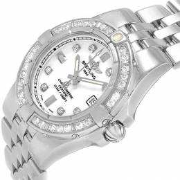 Breitling White Stainless Steel and Diamond Starliner A71340 Women's Wristwatch 30MM 227105