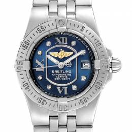 Breitling Blue Stainless Steel and Diamond Starliner A71340 Women's Wristwatch 30MM 227103