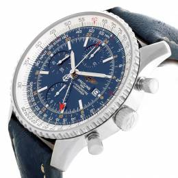 Breitling Blue Stainless Steel and Leathe Navitimer GMT A24322 Men's Wristwatch 46MM 227101